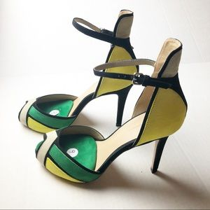 Zara Multicolor Ankle Strap Sandals Heels 40/9